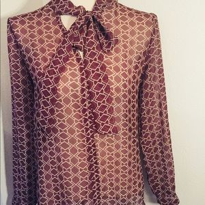‼️ BEAUTIFUL BROWN BOW TIE BLOUSE❗️